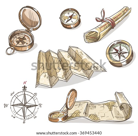 Set of hand drawn compasses and maps - stock vector