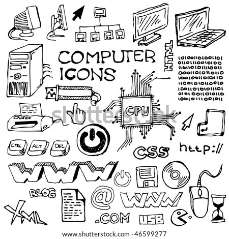 Set of hand-drawn computer icons (vector) - stock vector