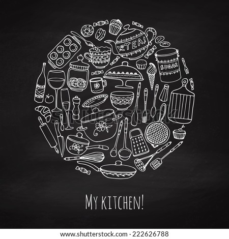 Set of hand drawn cookware on the chalkboard. Chalk kitchen background. Doodle kitchen equipments. Vector illustration. - stock vector