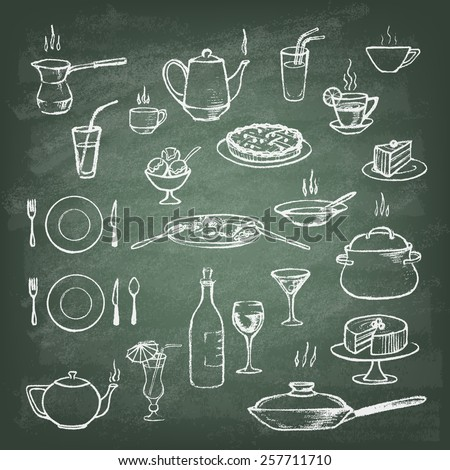 Set of hand drawn cookware on the green blackboard. Kitchen background. Doodle kitchen equipments. Food and Drink. Silhouettes of kitchen utensils. Vintage style. Vector illustration. - stock vector