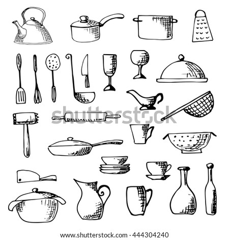 Set of hand drawn cookware.  Vector illustration. - stock vector