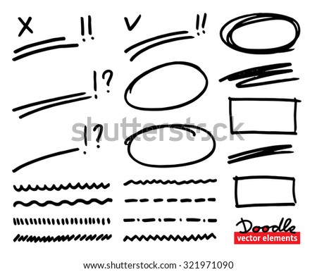 Set of hand drawn correction elements. Underlines, rectangles, squares and ovals, question and exclamation marks and highlighting elements. Doodle Vector illustration. - stock vector