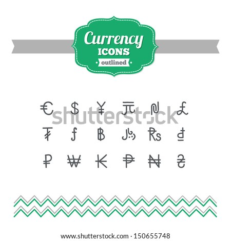 Set of hand-drawn currency icons - stock vector