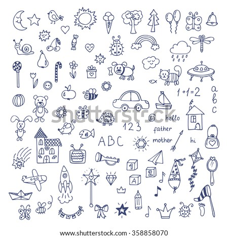 doodle children drawing hand drawn set of drawings - Picture For Drawing For Children