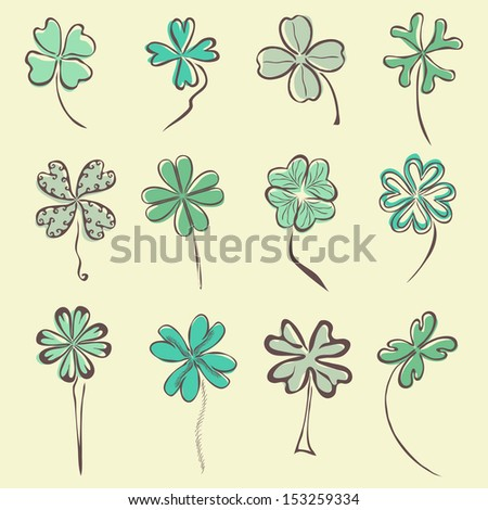 set of 12 hand drawn decorative clovers for your design - stock vector