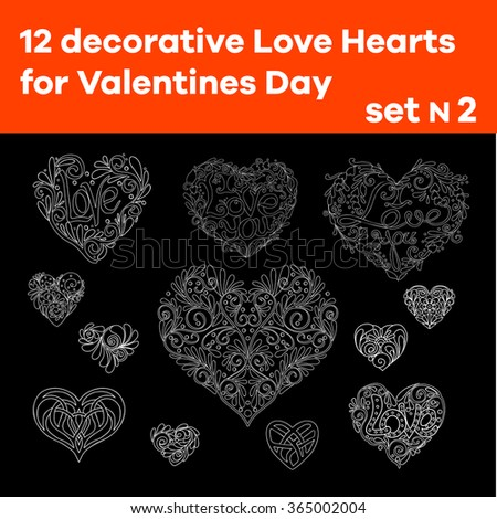 Set 2 of 12 hand drawn  decorative Love Heart. Designer elements. Good for wedding or Valentines Day. Vector illustration. Outline. Black and white. - stock vector