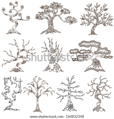 set of 10 hand drawn decorative trees for your design - stock vector