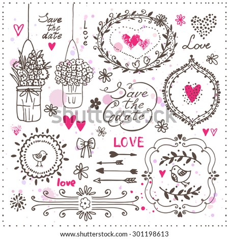 Set hand drawn design elements wedding stock vector hd royalty free set of hand drawn design elements for wedding decoration vector illustration decorative frames junglespirit Images