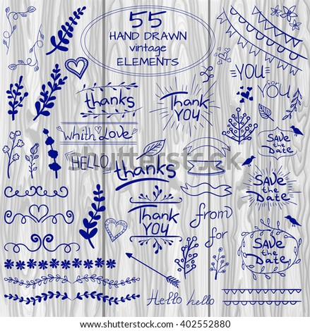 Set of 55 hand drawn design elements. Vintage VECTOR doodles. Blue lines on light wood background  - stock vector