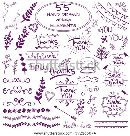 Set of 55 hand drawn design elements. Vintage VECTOR doodles. Purple on white     - stock vector
