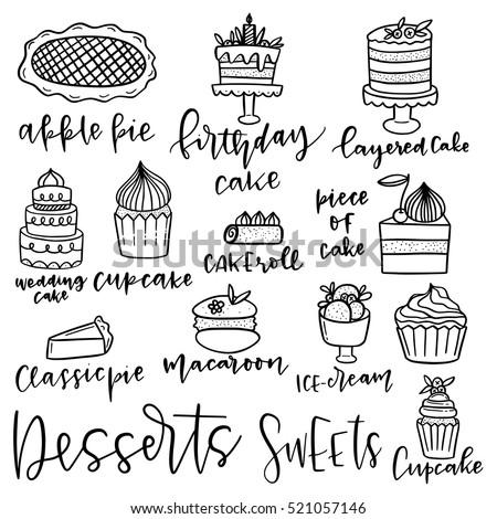 Set hand drawn dessert vector icons stock vector royalty - Dessert dessin ...