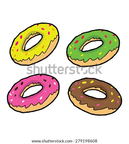 set of hand drawn donut - stock vector