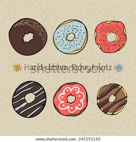 Set of Hand-drawn Donuts with Hand-drawn Seamless Pattern on Background - stock vector