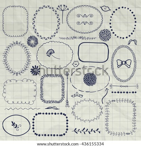 Set of Hand Drawn Doodle Borders and Frames. Rustic Decorative Design Elements, Florals, Dividers, Arrows, Swirls, on Crumpled Notebook Texture. Pen Drawing Vector Illustration.