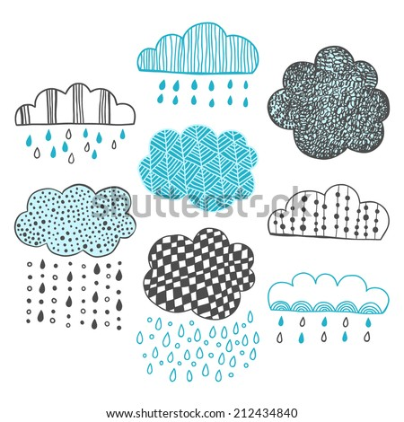 Set of hand drawn doodle clouds for design - stock vector