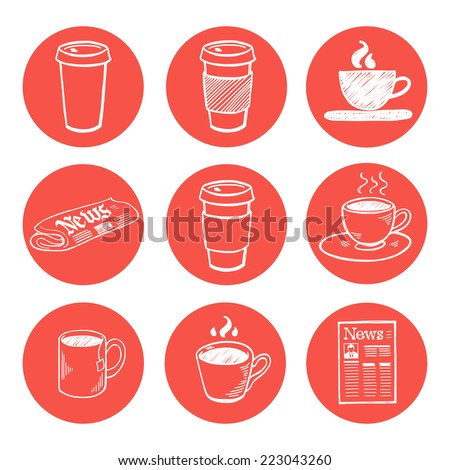 Set of hand drawn doodle coffee break icons isolated on bright red circles. Collection of sketches of morning newspaper and cup of coffee. - stock vector