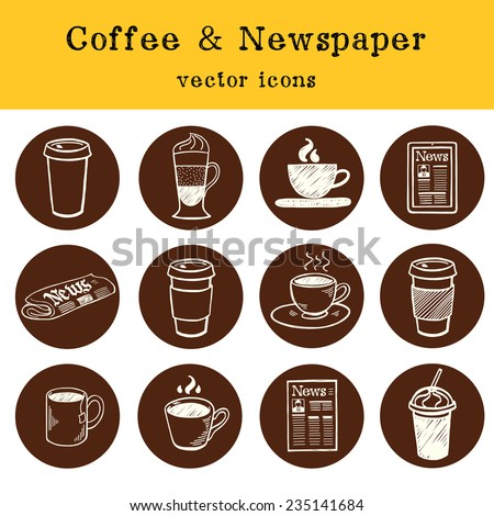 Set of hand drawn doodle coffee break icons isolated on brown circles. Morning newspaper and cup of coffee. - stock vector