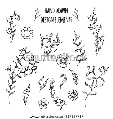 Set of hand drawn doodle design elements. Vector illustration with flowers, branch, laurel wreath and leaves.Floral elements for your design.