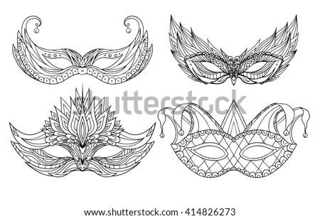 Set Of Hand Drawn Doodle Face Holiday Masks Festival Mardi Gras Masquerade