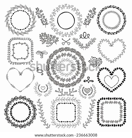 Set of Hand-Drawn Doodle Floral Decorative Borders, Frames, Wreaths, Laurels. Design Elements. Vector Illustration. - stock vector