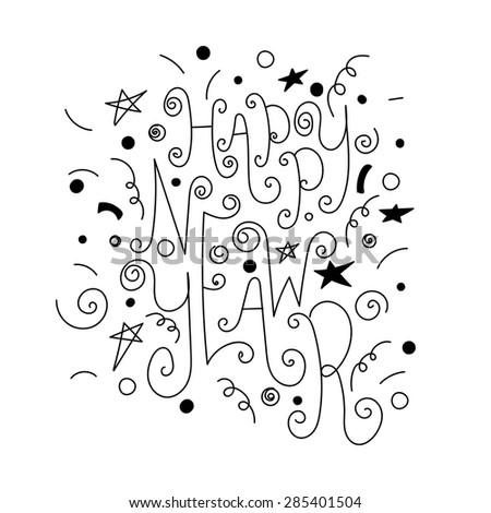Set of hand drawn doodle icons and lettering. Happy new year and merry Christmas. - stock vector