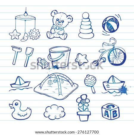 Set of hand-drawn doodle icons baby toys and accessories. - stock vector