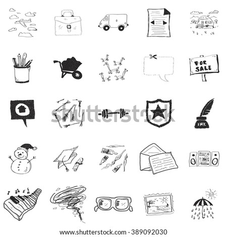 Set of 25 hand drawn doodle illustrations - stock vector