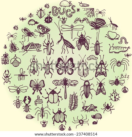 set of hand drawn doodle insects - stock vector