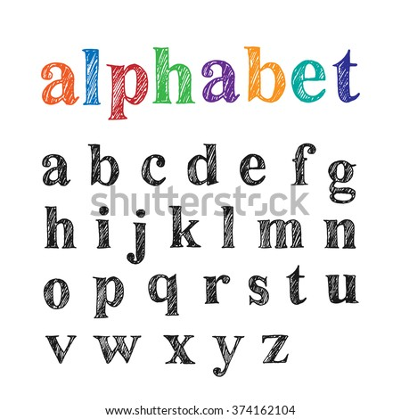 Set of hand drawn doodle letters alphabet. English lowercase scribbled serif font. Vector black ink lettering design.  - stock vector