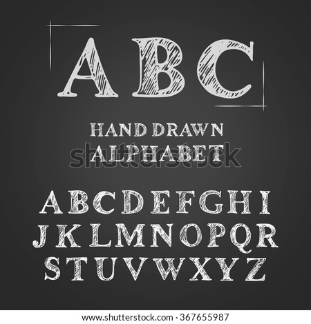 Set of hand drawn doodle letters alphabet. English uppercase scribbled serif font. Vector chalk lettering design.