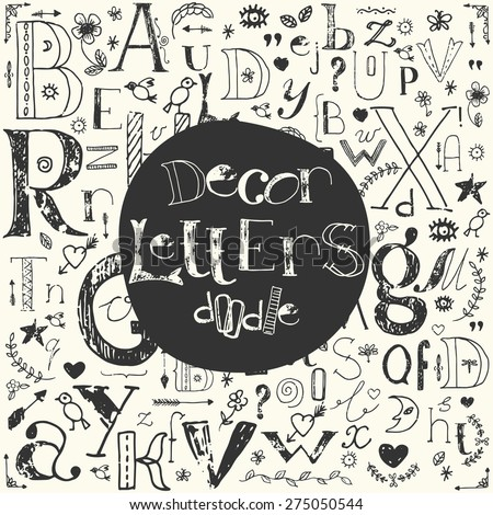 Set of hand drawn doodle letters and decorative elements. Vector black and white lettering design.  - stock vector