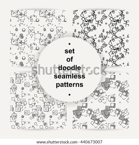 Set of hand drawn doodle seamless patterns. Vector geometric ornaments.