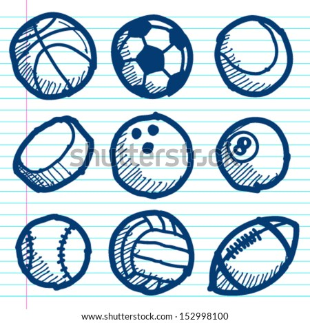 Set of hand drawn doodle sport balls icons.