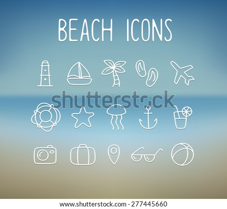 Set of hand drawn doodle style beach and vacation line icons on a blurred ocean background.