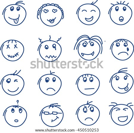 Set of hand drawn doodle style smiles on white background. Vector illustration