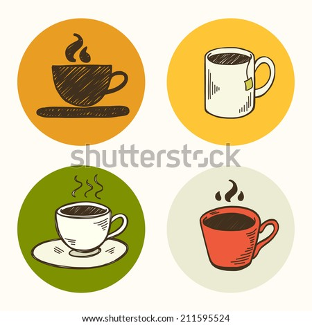 Set of hand drawn doodle tea and coffee icons isolated on colorful bright circles. - stock vector