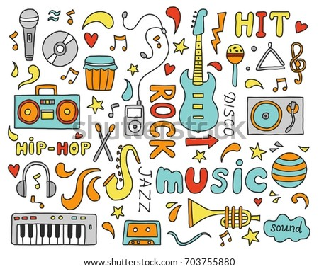 Set Of Hand Drawn Doodle With Lettering Text And Music Instrument Guitar Microphone