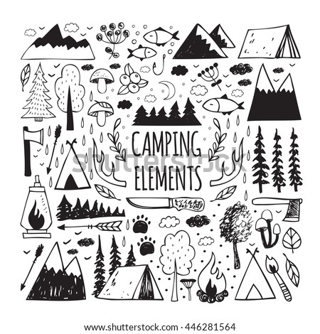 Set of hand-drawn elements for design logo camping, recreation, adventure.Set elements of vintage woods camp badges and travel logo emblems - stock vector