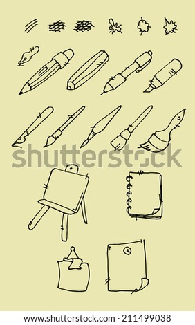 Set of hand drawn elements for school theme. Vector illustration. - stock vector