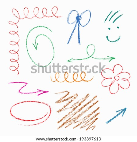 Set of hand drawn elements (pastel).The color is easily changeable by one click.