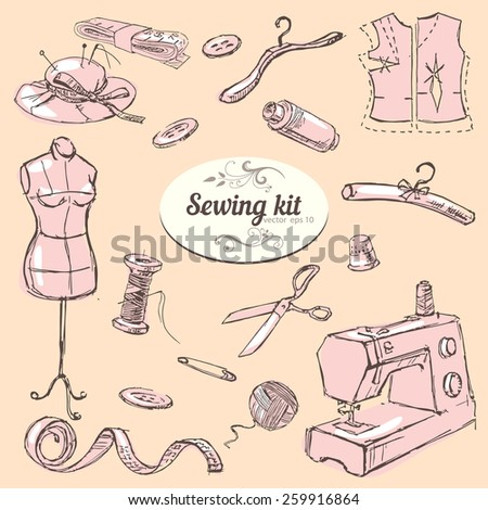 Set of hand drawn elements sewing kit - stock vector