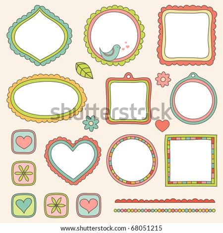 Set of hand drawn elements. Vector illustration. - stock vector