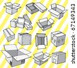 Set of Hand Drawn Empty Packages - stock vector