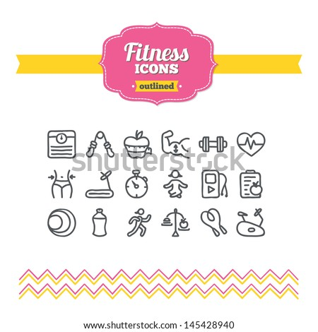 Set of hand drawn fitness icons - stock vector