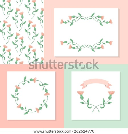 set of hand drawn floral elements, vector illustration - stock vector