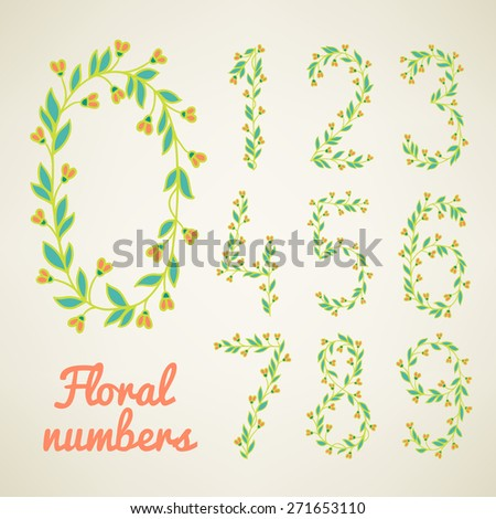Set of hand drawn floral numbers. Zero, one, two, three, four, five, six, seven, eight, nine - signs in vector. Perfect for educational cards, birthday and wedding invitations - stock vector