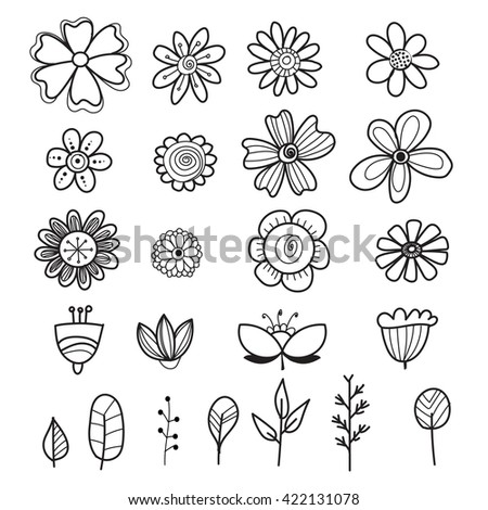set of hand drawn flowers and leaf. vector design elements - stock vector