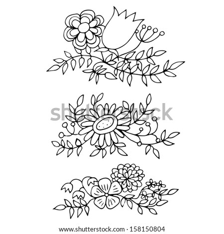Set of hand drawn flowers in outlines - stock vector