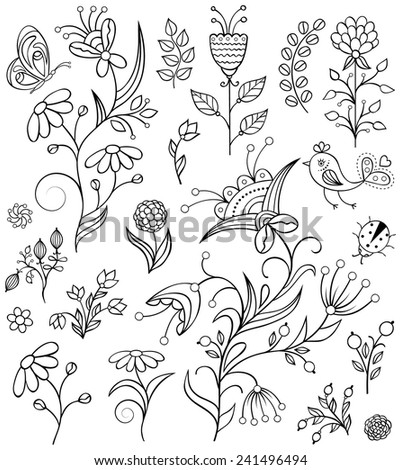 Set of hand drawn flowers on white background