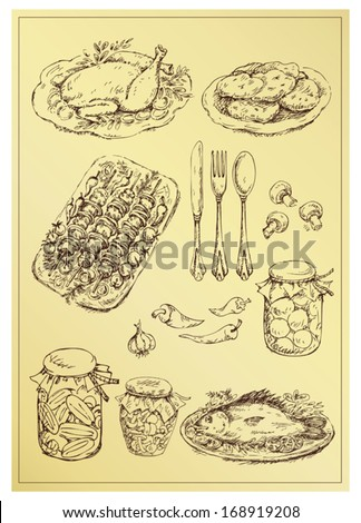 set of hand drawn food - stock vector